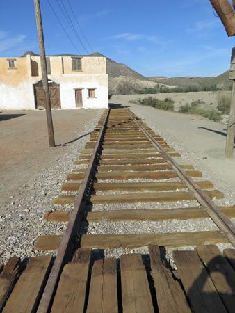 nowhere: Railway track to nowhere on Filmset in Fort Bravo, Tabernas desert, Spain
