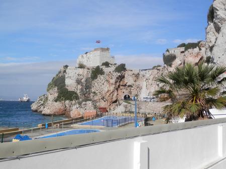 bastion: Union Jack flying on bastion in Gibraltar