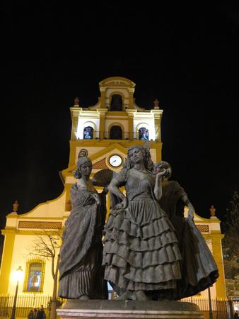 belfry: La Linea de Concepcion church belfry at night in Cadiz Province Andalucia Spain