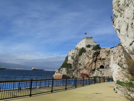 bastion: Union Jack flying on bastion in Gibraltar