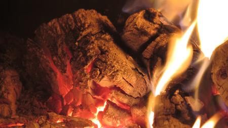 woodburner: Logs burning bright in wood burner Stock Photo