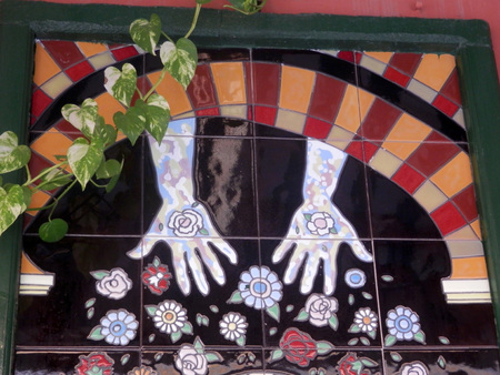 wall mounted: FUENGIROLA, SPAIN - MARCH 3RD. Wall mounted mosaic on building in Fuengirola, Spain. March 3rd 2016