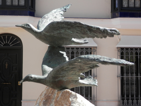 FUENGIROLA, SPAIN - MARCH 3RD. Two  birds on a fountain. Fuengirola, Spain. March 3rd 2016