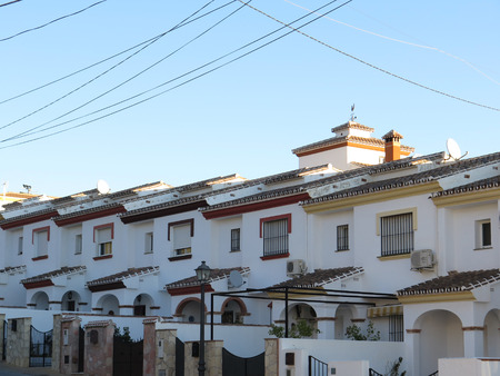 terraced: Row of terraced houses on hill in Alora, Andalucia