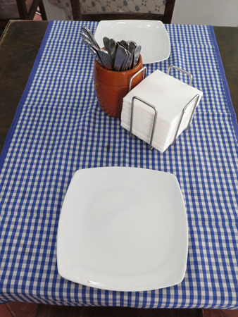 gingham: Place setting for two complete with dirty plate and grease spotted blue and white gingham tablecloth