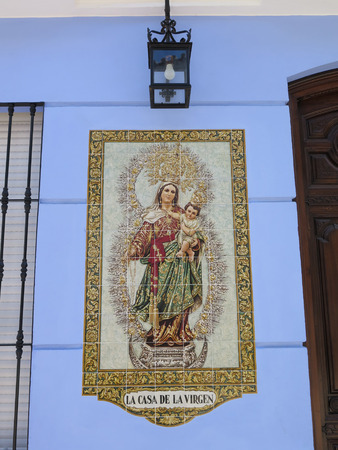 FUENGIROLA, SPAIN - MARCH 3RD. Mosaic mural of Fuengirola patron saint. Fuengirola, Spain. March 3rd 2016 Editorial