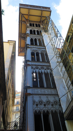 justa: Santa Justa Elevator in Lisbon, Portugal. Connecting downtown to Bairro Alto Made by the French architect Raoul de Mesnier du Ponsard an apprentice of Gustave Eiffel