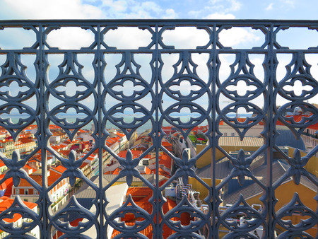 ironwork: Ornate Iron Work balcony railing on Santa Justa Elevator Platform, Lisbon, Portugal