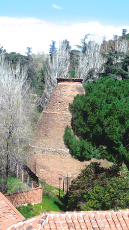 Large brick kiln in Madrid suburb, Spain