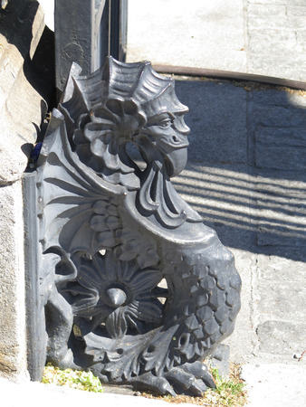 sea monster: Iron sculpture of a Sea Monster at gate of National Library in Madrid