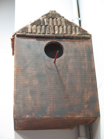 large bird: Large Bird box with cork roof in Madrid bar
