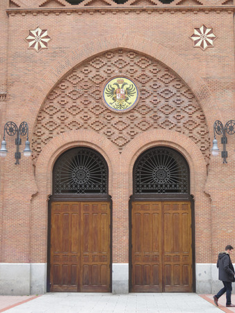 toros: Madrid, Spain - April 11 2016: Side door to Madrid Bullring in Plaza de Toros de Las Ventas, bullring. Editorial