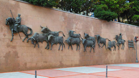 Large Bronze Sculpture on wall at Madrid Bullring