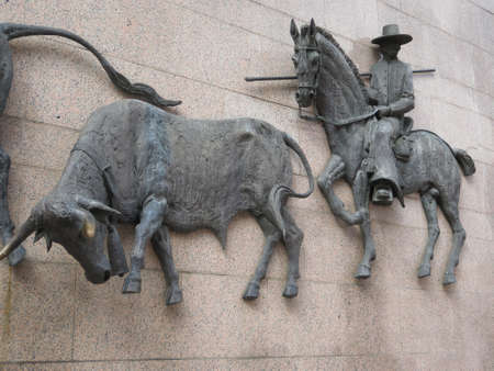 spainish: Large Bronze Sculpture on wall at Madrid Bullring