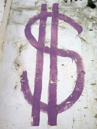grafiti: Purple rendering of Dollar sign on wall