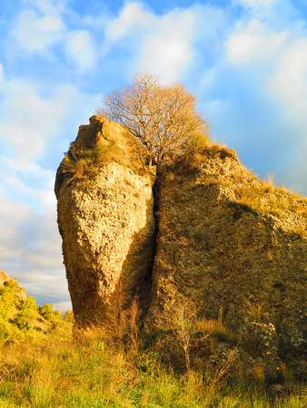 horison: rockscape in Alora Countryside, Andalucia in early morning sunshine Stock Photo