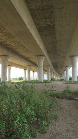overpass: Supporting Pillars on Highway overpass near Malaga, Andalucia