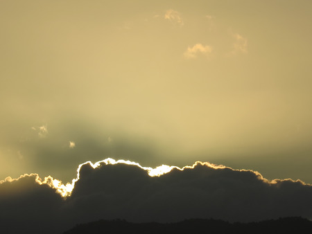lining: Clouds with silver lining at dawn in rural Andalusia, Spain Stock Photo