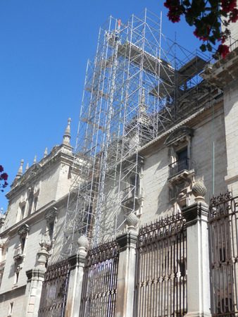 Scaffold covering part of historic Jaen Cathedral