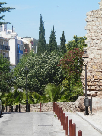 ruin: Street and restored ruin in Jaen, Andalusia