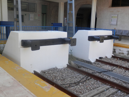 buffers: Two Concrete buffers at Jaen railway station, Andalusia