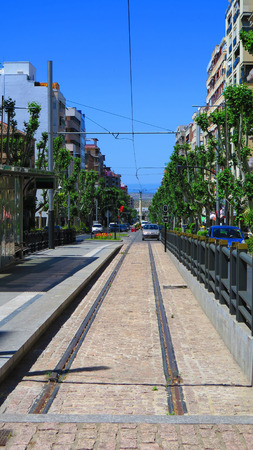 disused: Disused tramlines in Jaen running straight down Station Road