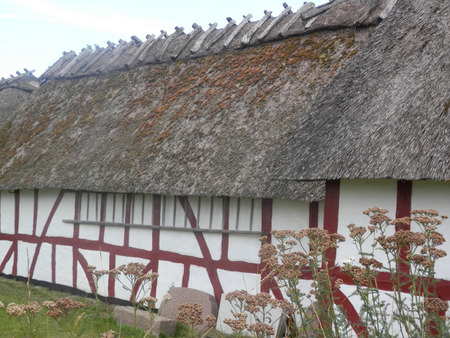 Thatched stables at church on island of Als in Southern Denmark