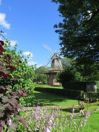 renovated: Old Brick Windmill in Bad Zwischenahn in Northwest Germany Editorial