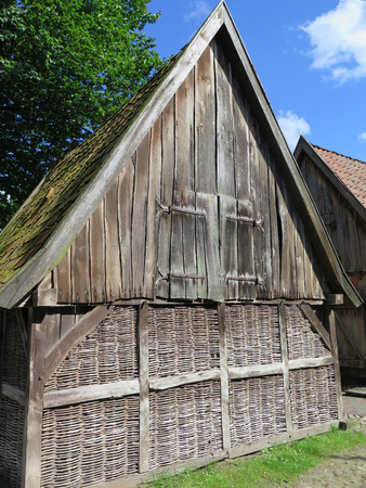 outhouse: Wooden outhouse with lattice walls in Bad Zwischenahn, Northwest Germany