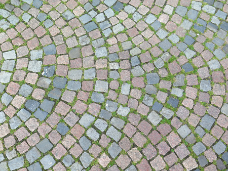 Cobble Stone pattern in town square in Osnabruck, Germany Stock Photo