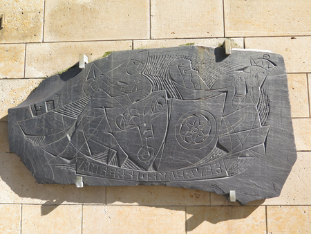 twinning: Twin town slate carving celebrating the twinning of Osnabruck with Angers in the Loire Valley of France