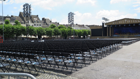 uniformity: Chairs on Vrijthof Square, Maastricht, Limburg, The Netherlands, Europe