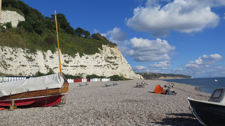 A view along the coastline at Beer in Devon. Editorial