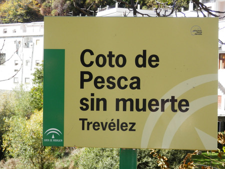 returned: Trevelez, Spain - October 31, 2016: Fishing allowed but catches have to be returned to the river