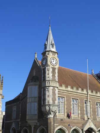 corner clock: Corner Clock Tower on Dorchester Corn Exchange Stock Photo