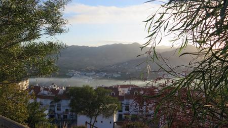 spanish village: Foggy day in valley outside Spanish Village