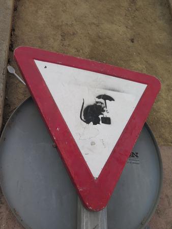 spanish village: Strange traffic Sign on roadside in Spanish village