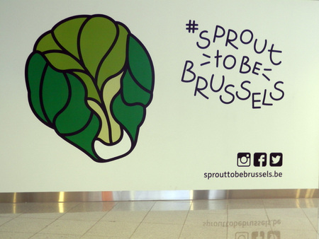 Brussels, Belgium - December 19, 2016: Hashtag Brussel Sprout poster at Brussel Airport Editorial