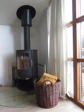 woodburner: Modern Wood Burner and basket in Danish Holiday home