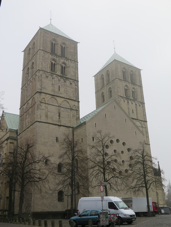 Munster, Germany - December 28, 2016: Twin towers on Famous st paulus cathedral