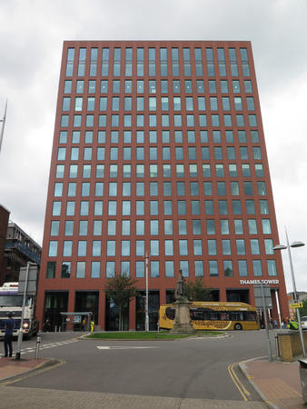 Reading, England - August 4, 2017: New tall office block by Reading Station development Editorial