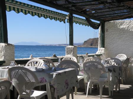 View of Mediterranean from inside beach restaurant on Costa del Sol, Spain