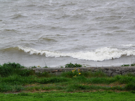 Green grass dike and Choppy waves on Dutch inland sea