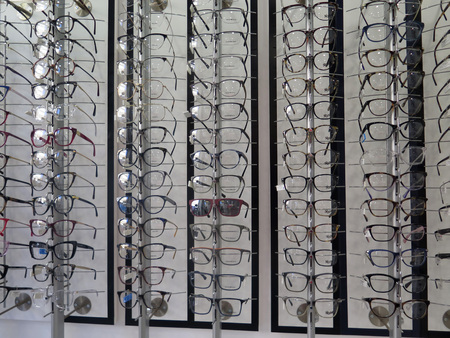 Malaga, Spain - November 30, 2018: Selection of frames on display at Malaga optician shop