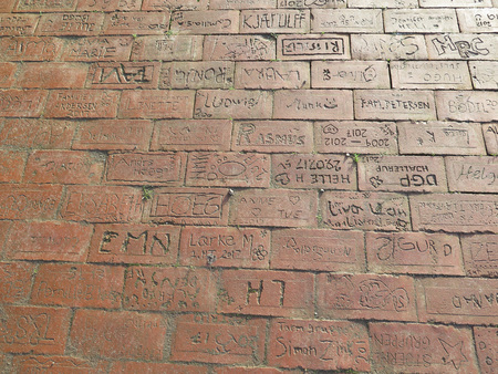 Individually signed bricks in pavement at Scouts hut in Sothern Denmark