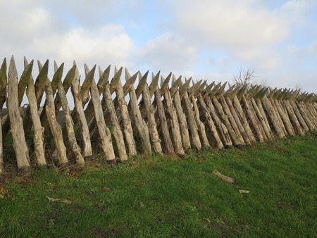 Wooden stake fortification against grey winter clouds in Southern Denmark, site of 1864 war with Germany Stok Fotoğraf