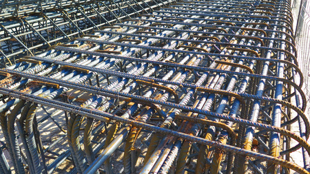 Steel bars awaiting pumped and poured concrete at construction site of Malaga Metro in central town