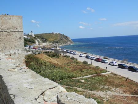 Tarifa, Spain - April 4, 2019: View of Tarifa castle and Strait of Gibraltar