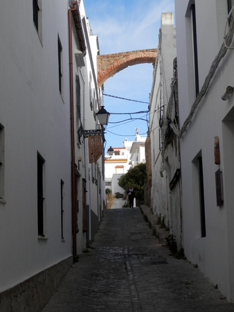 Tarifa, Spain - March 31, 2019: Remnant of old town fortification leading out from central village