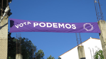 Alora, Spain - April 27, 2019: Election poster for 2019 Spanish election on Sunday April 28th 2019 on behalf of Podemos party.